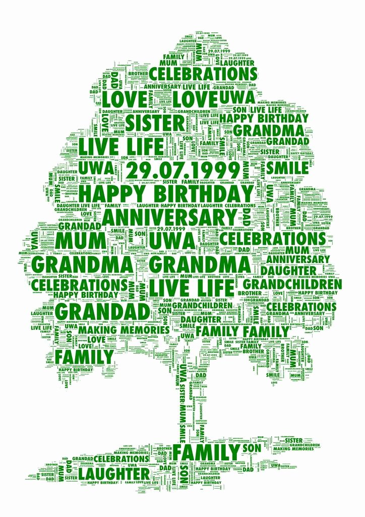Family Tree Word Art New Personalised Family Tree Print by Unique Word Art