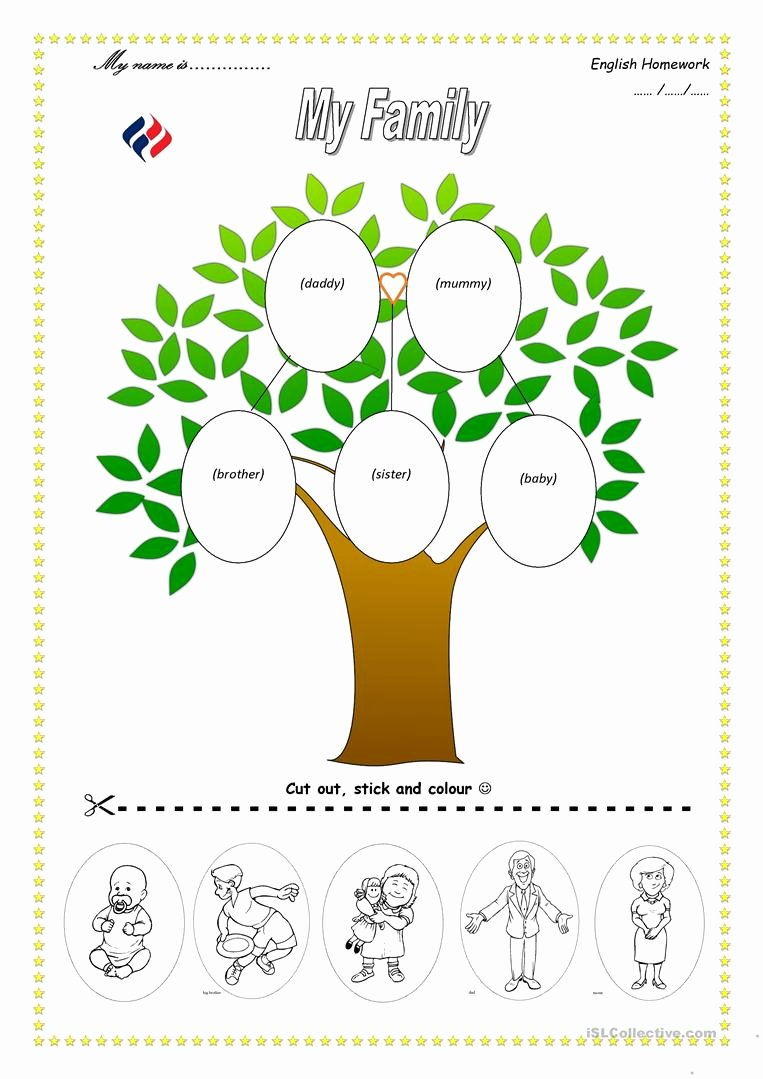 Family Tree Worksheet Printable Awesome Family Tree English Esl Worksheets