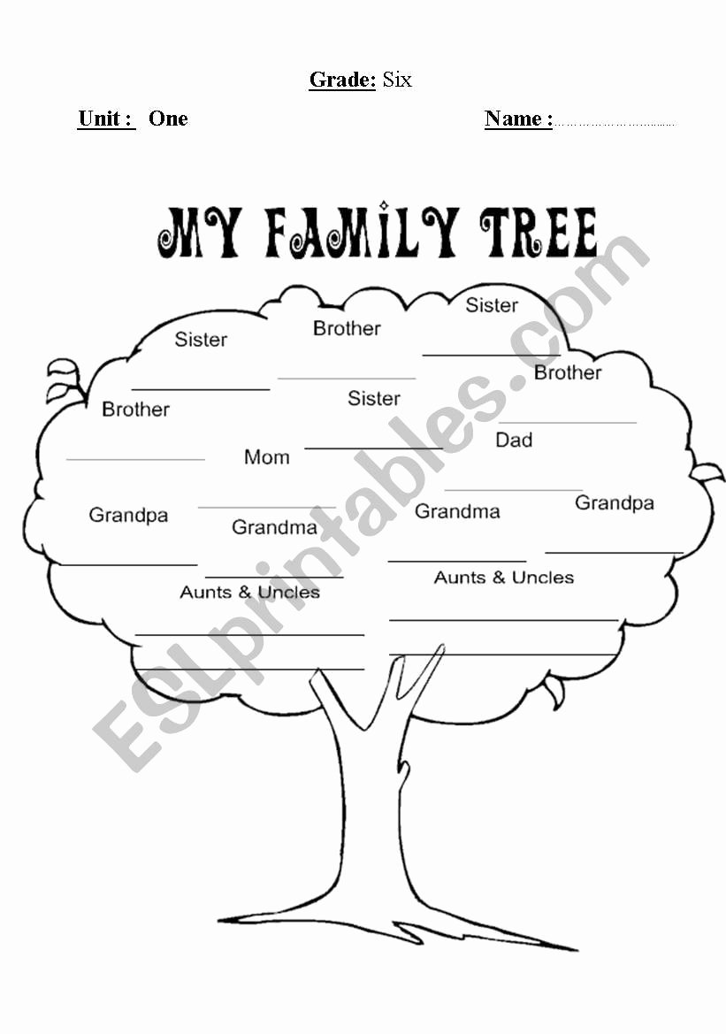 Family Tree Worksheet Printable Awesome Family Tree Esl Worksheet by Mohammed95