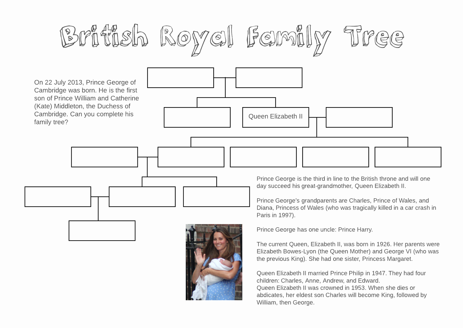 Family Tree Worksheet Printable Inspirational Adventures In Tefl British Royal Family Tree Free