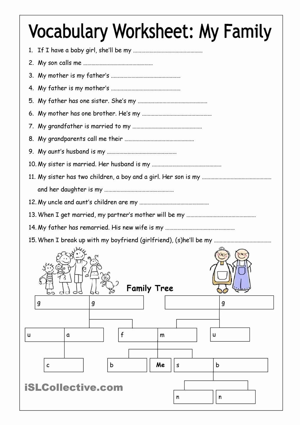 Family Tree Worksheet Printable Lovely Vocabulary Worksheet My Family Medium