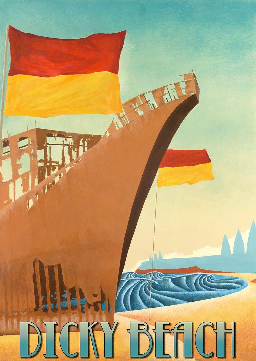Famous Art Deco Posters Elegant Dicky Beach Art Deco Surf Poster by Scott Denholm Artdeco
