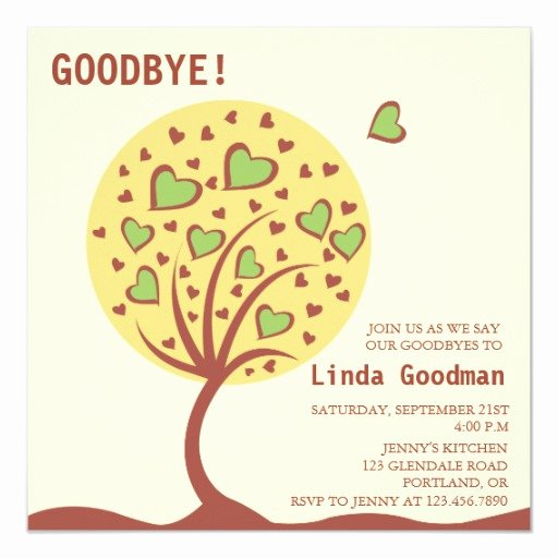 Farewell Party Invitation Wording Awesome Heart Tree Farewell Party Invitation
