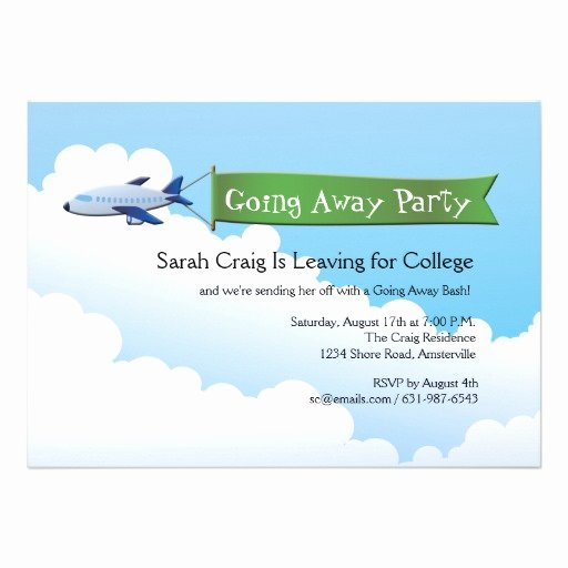 """Farewell Party Invitation Wording Inspirational Jetliner Banner Going Away Party Invitation 5"""" X 7"""
