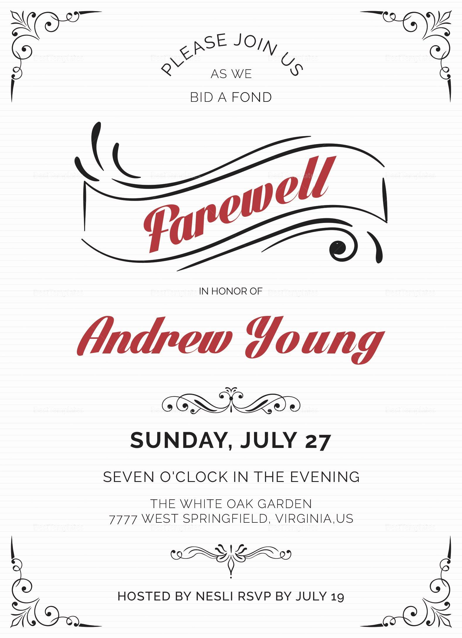 Farewell Party Invitation Wording Luxury Elegant Farewell Party Invitation Design Template In Word