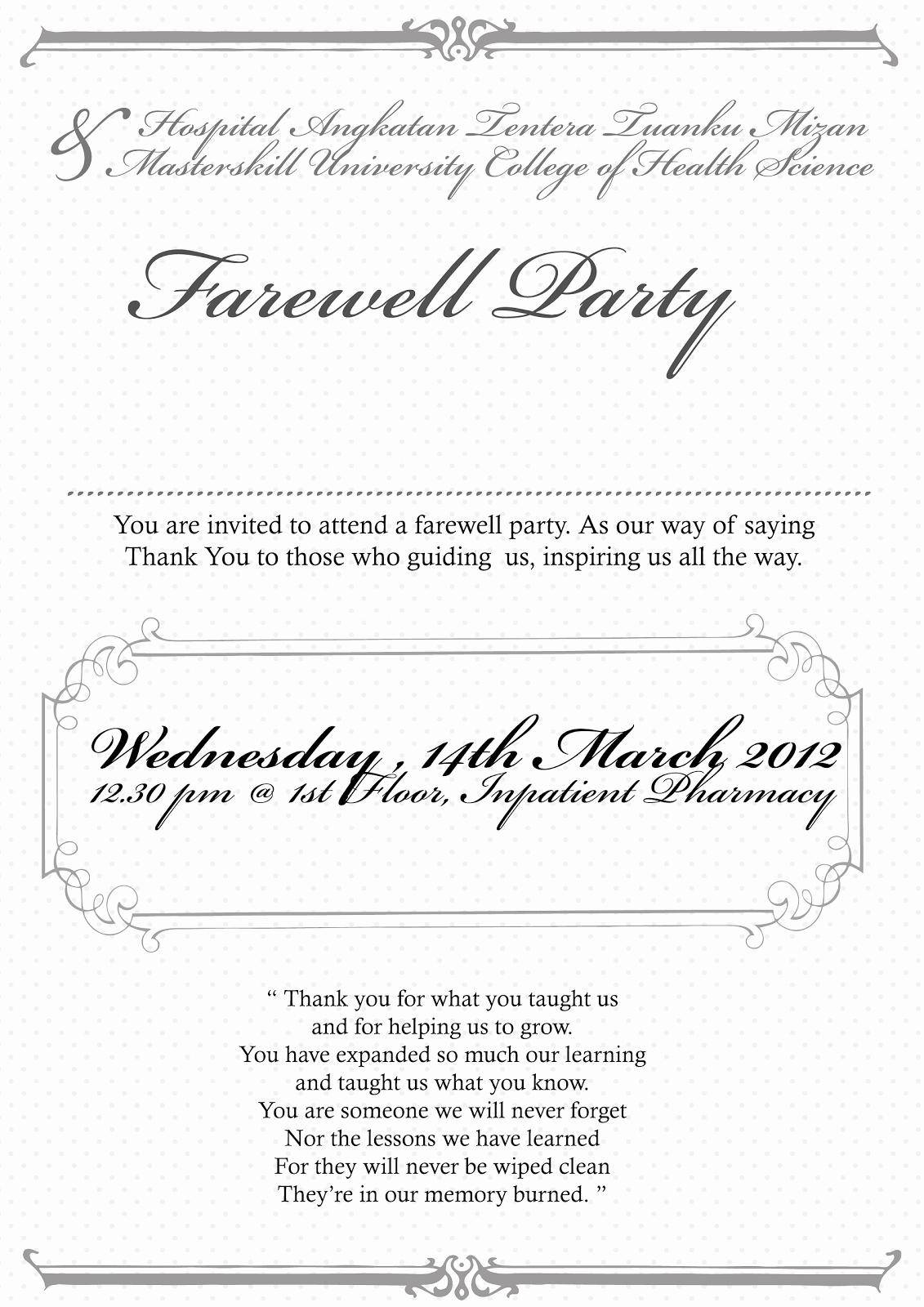 Farewell Party Invitation Wording Unique thebigtree Invitation Card Farewell Party