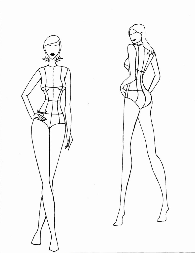 Fashion Design Template Female Beautiful Realistic Female Croquis Front and Back Views by