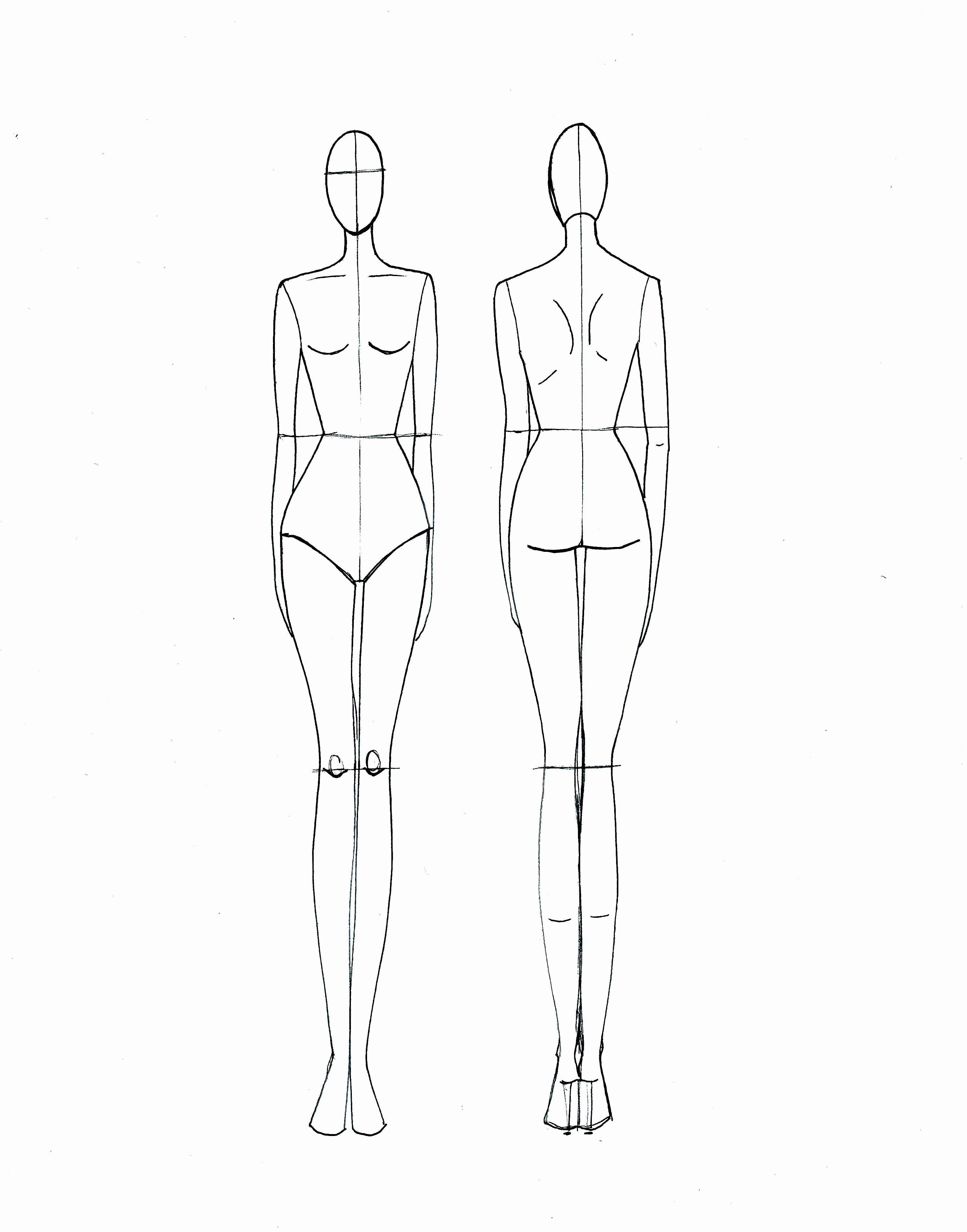 Fashion Design Template Female Beautiful Straight form Front and Back Es