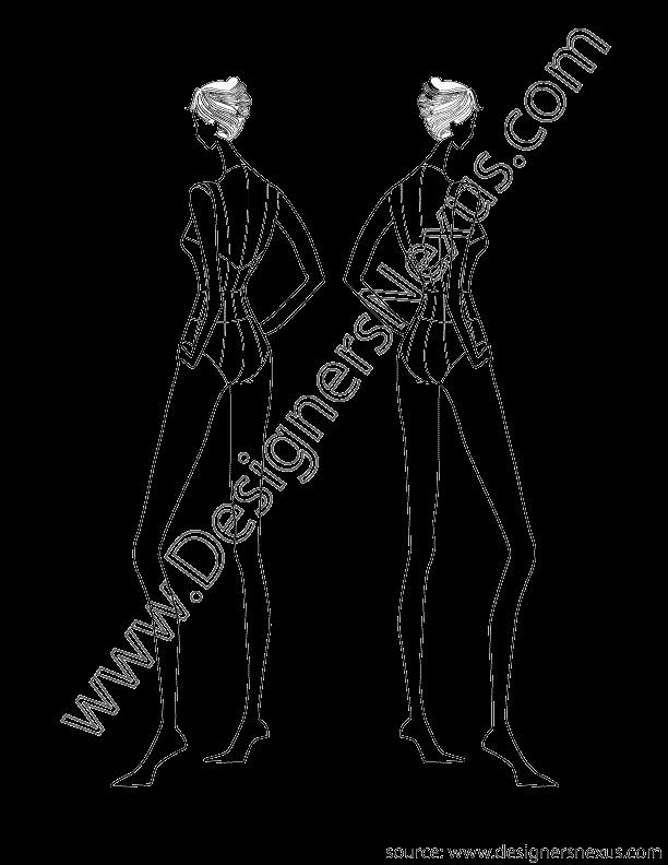 Fashion Design Template Female Fresh Female Fashion Croqui Design Back View V2 Designers Nexus