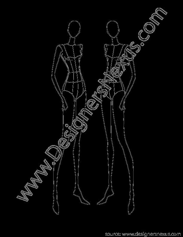 Fashion Design Template Female Luxury Fashion Design Female Croqui V3 Front 3 4 Pose Designers
