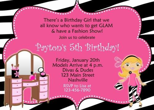 Fashion Show Invitations Templates Beautiful Fashion Show Birthday Party Invitations Ideas – Bagvania