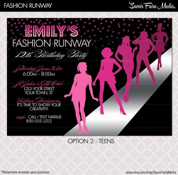 Fashion Show Invitations Templates Fresh Fashion Show Invitation Project Runway Inspired Birthday