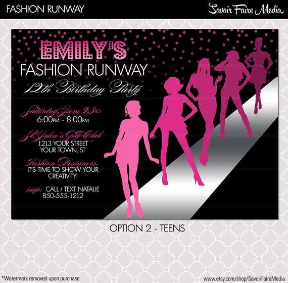 Fashion Show Invitations Templates Fresh Fashion Show Invitation Project Runway Inspired Birthday