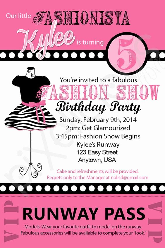 Fashion Show Invitations Templates Lovely 7th Birthday Invitation theme Ideas Party Xyz