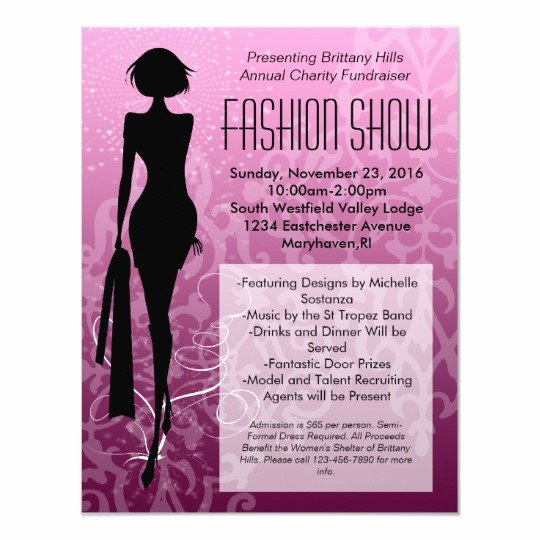 Fashion Show Invitations Templates New Pink Swirl Silhouette Fashion Show Invitations