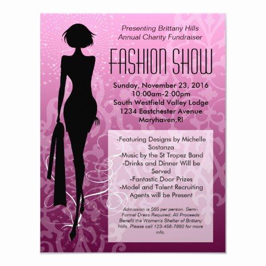 Fashion Show Invitations Templates New Pink Swirl Silhouette Fashion Show Invitations