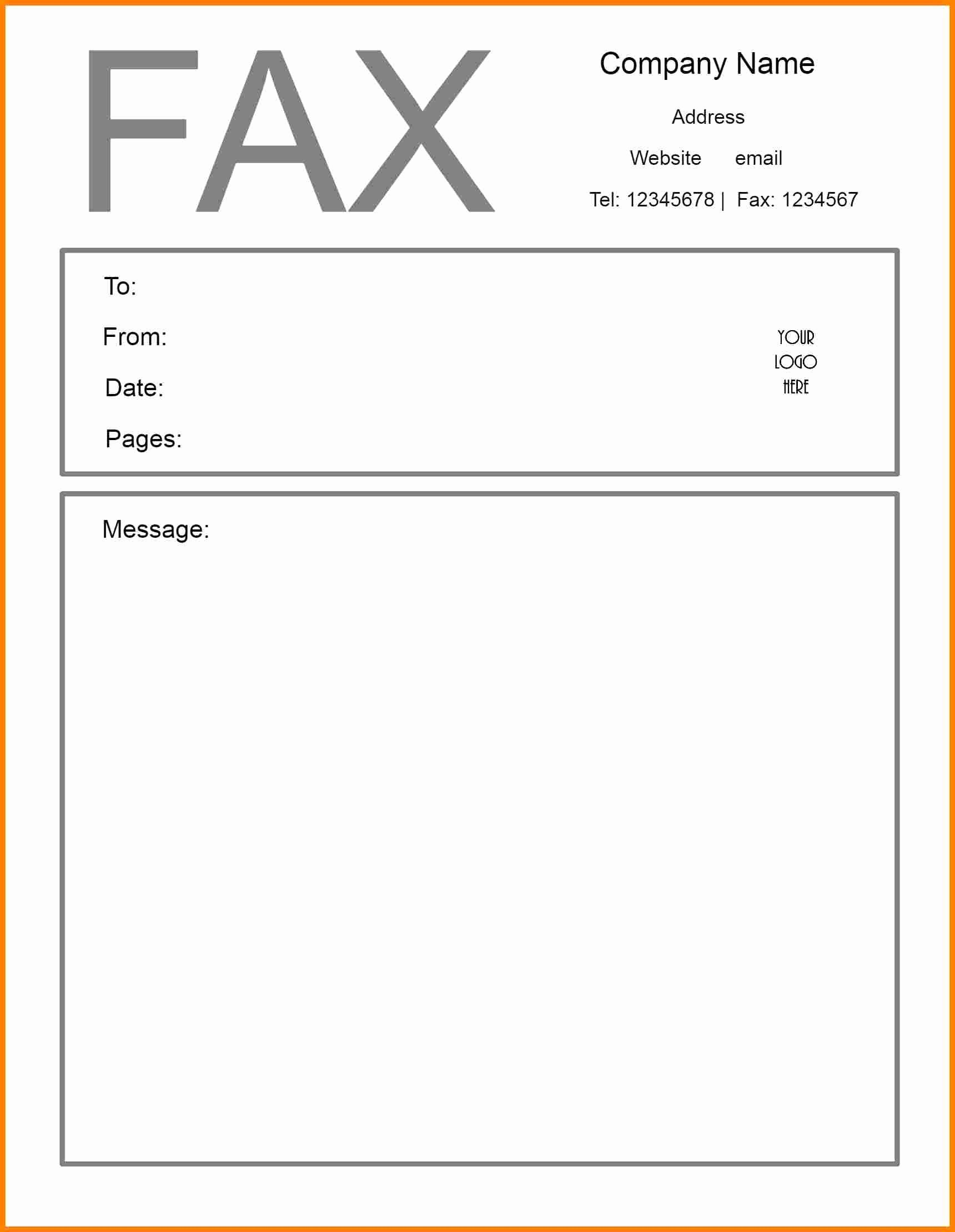 Fax Cover Page Inspirational Fax Header Template Word Picture – Microsoft Word Fax