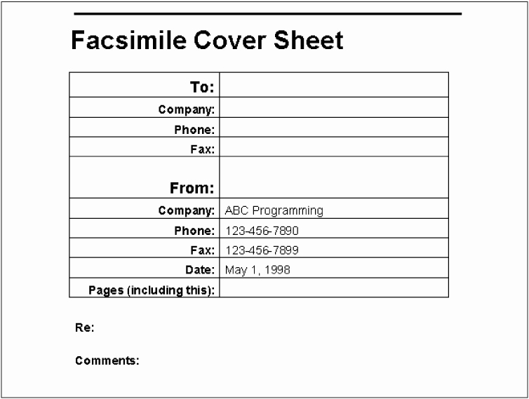 Fax Cover Page Sample Elegant Example A Fax Cover Sheet Writing Word Macros Second