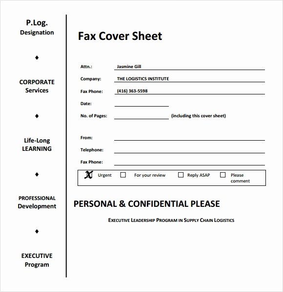 Fax Cover Page Sample Elegant Sample Fax Cover Sheet for Resume 7 Documents In Pdf Word