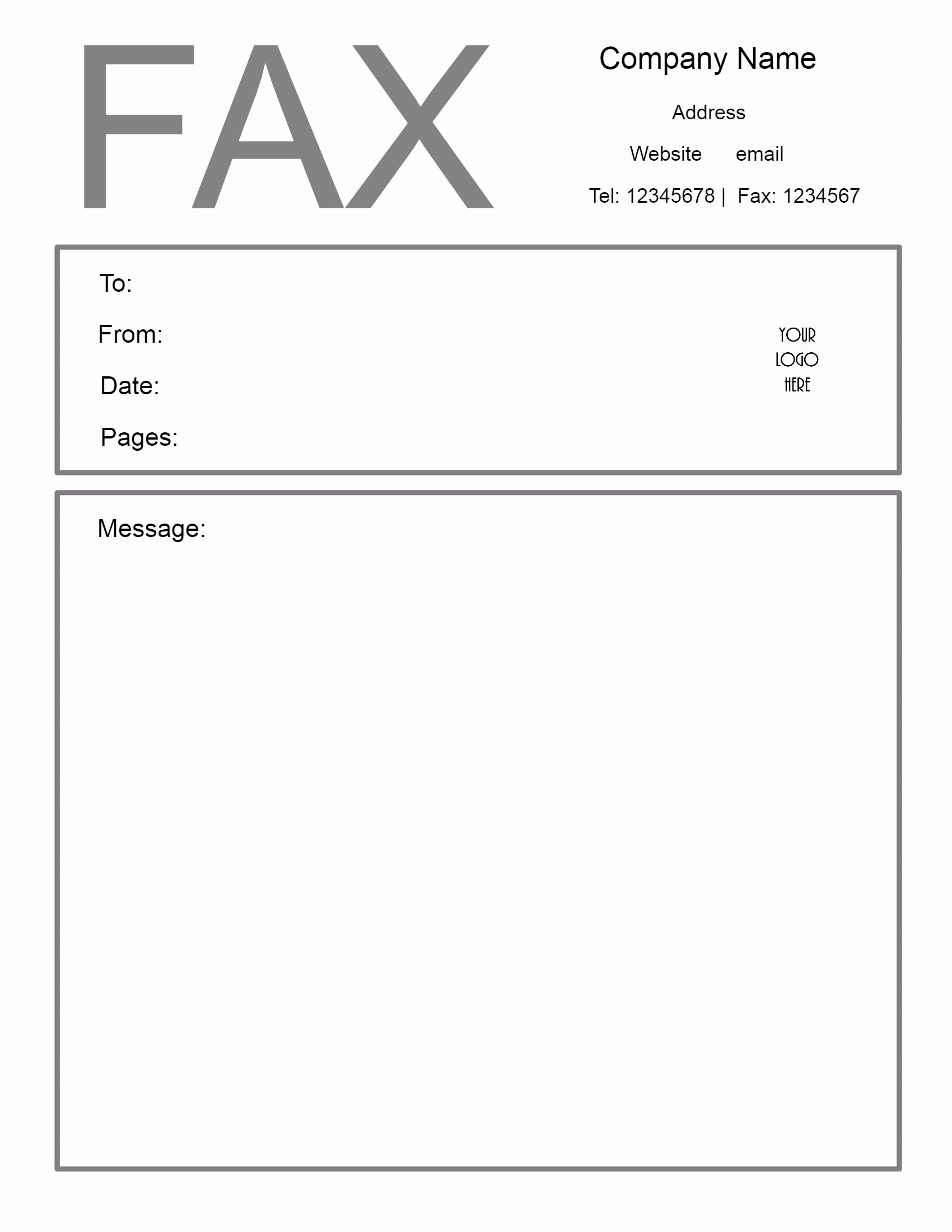 Fax Cover Page Template Awesome Free Fax Cover Letter Template
