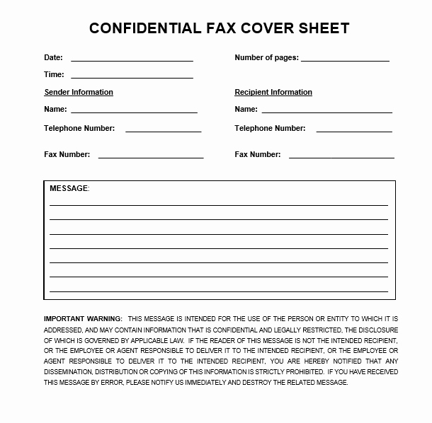 Fax Cover Sheet Disclaimer Luxury Confidential Fax Cover Sheet