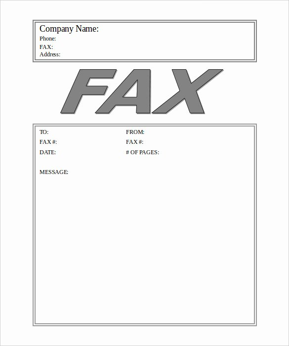 Fax Cover Sheet Word Template Lovely Generic Fax Cover Sheet