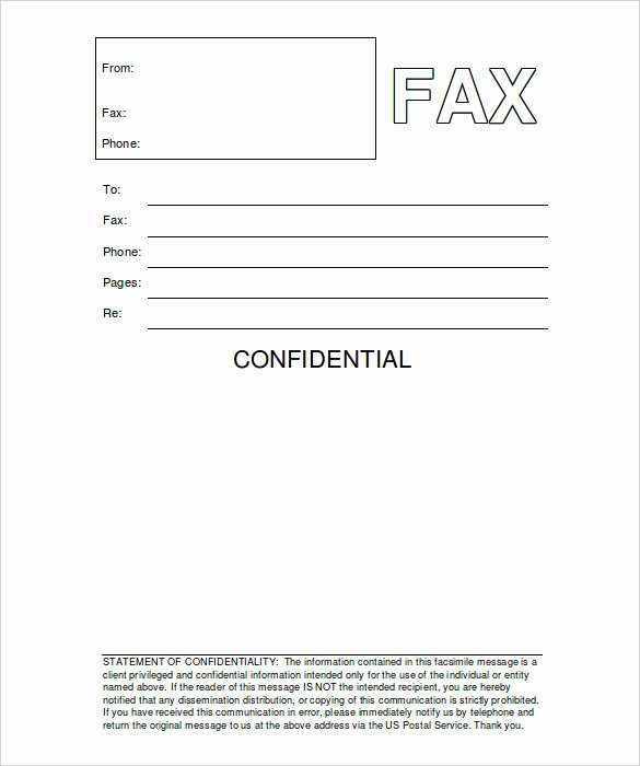 Fax Cover Sheet Word Template New Fax Cover Sheet Confidential