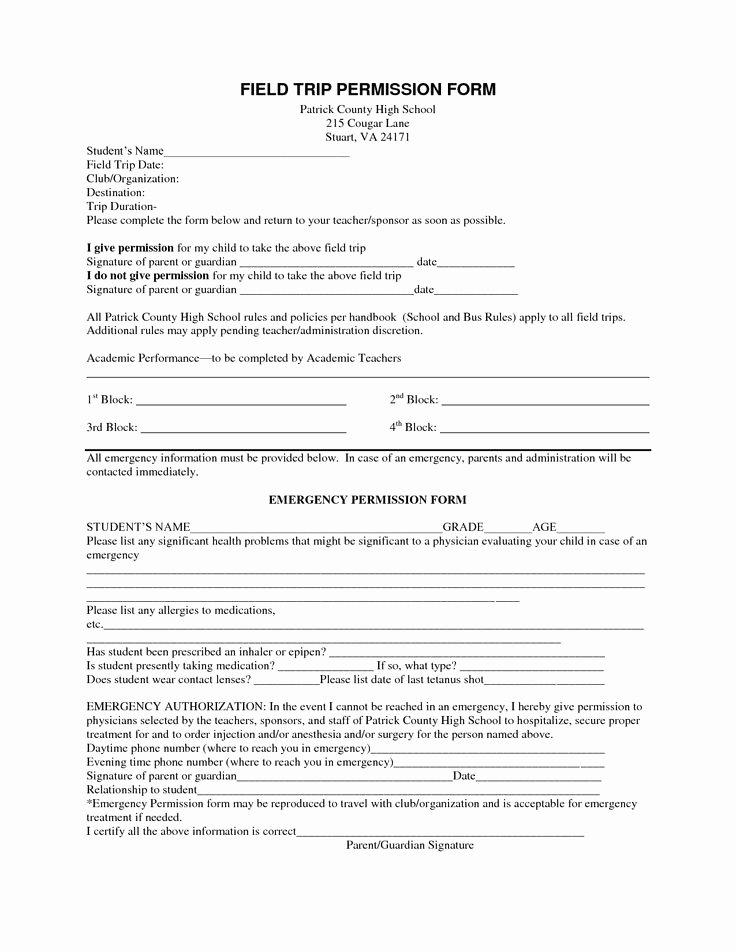 Field Trip Permission form Best Of Field Trip Permission form S S