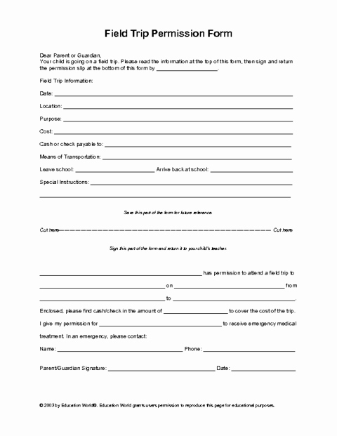 Field Trip Permission Slip form Beautiful Education World Field Trip Permission Slip Template