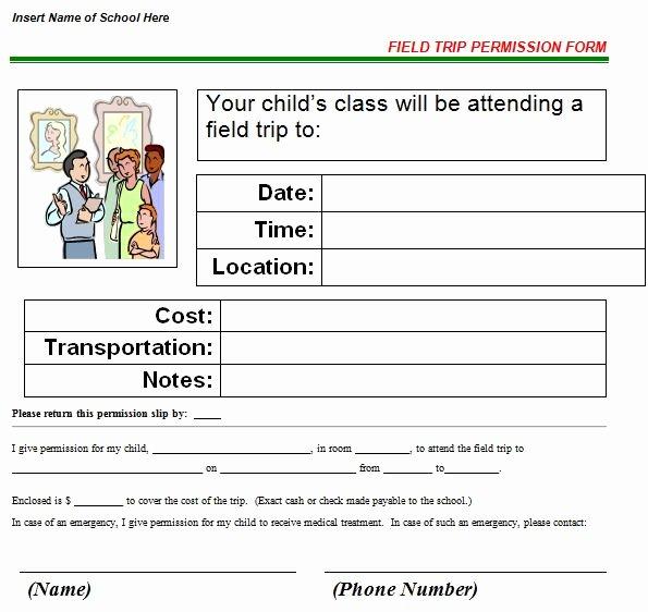Field Trip Permission Slip form Best Of 35 Permission Slip Templates & Field Trip forms