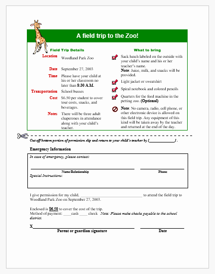 Field Trip Permission Slip form Inspirational Field Trip Permission form Template for Word