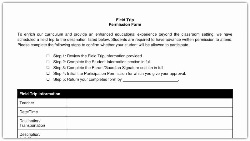 Field Trip Permission Slip form Unique Free Field Trip and School Permission forms Templates