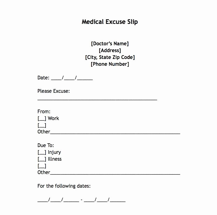 Fill In Doctor Note Awesome 25 Free Printable Doctor Notes Templates for Work Updated