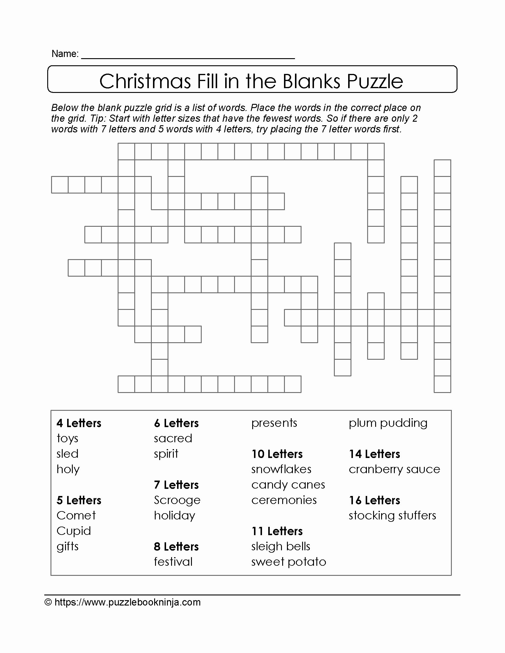 Fill In Puzzles Printable Beautiful Puzzles to Print Free Xmas theme Fill In the Blanks