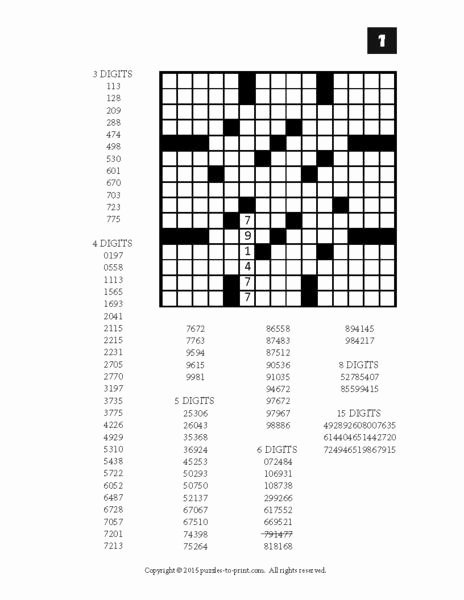 Fill In Puzzles Printable Unique Number Fill In Puzzles Volume 2 Printable Pdf – Puzzles