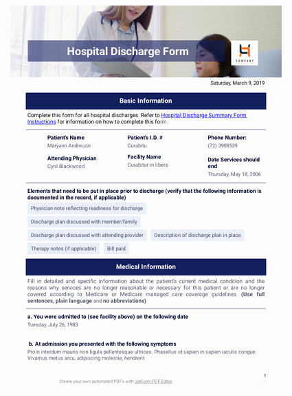 Fillable Hospital Discharge Papers Luxury Hospital Discharge Pdf Templates