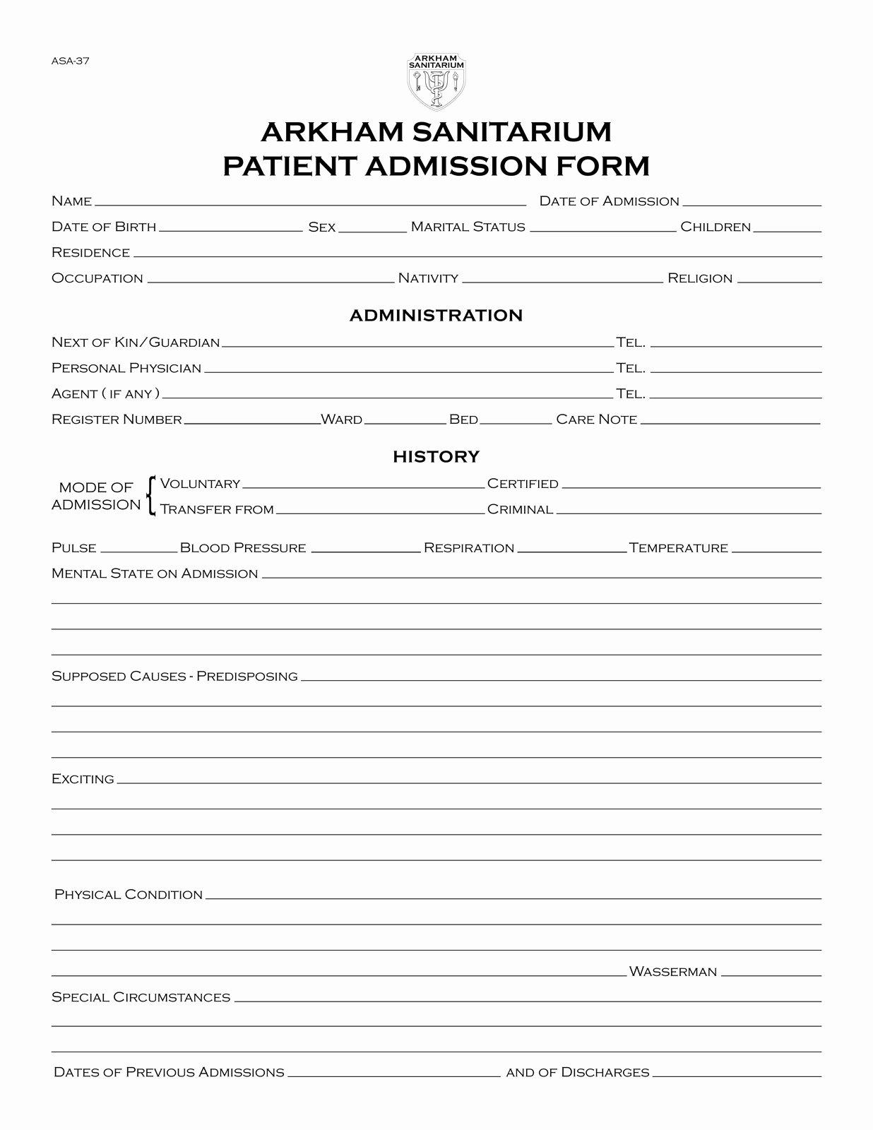 Fillable Hospital Discharge Papers New Propnomicon Arkham Sanitarium Patient Admission form