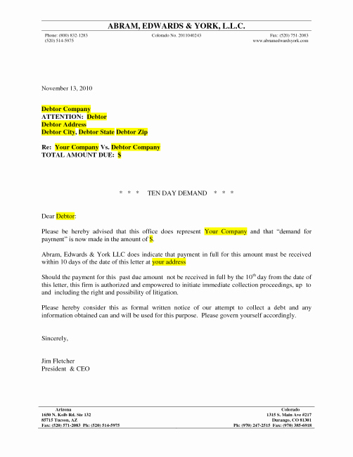 Final Demand Collection Letter Best Of Debt Recovery Letter Demand Template