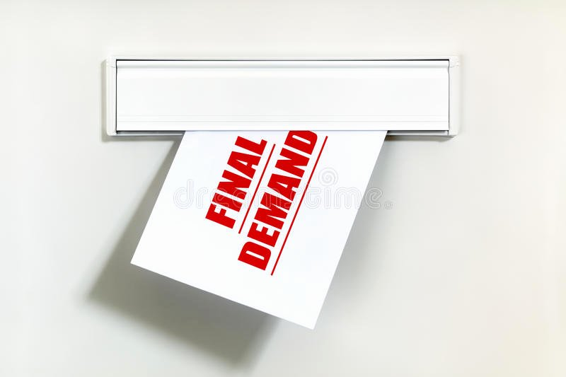 Final Demand for Payment Awesome Unpaid Bill Through the Letterbox Stock Image