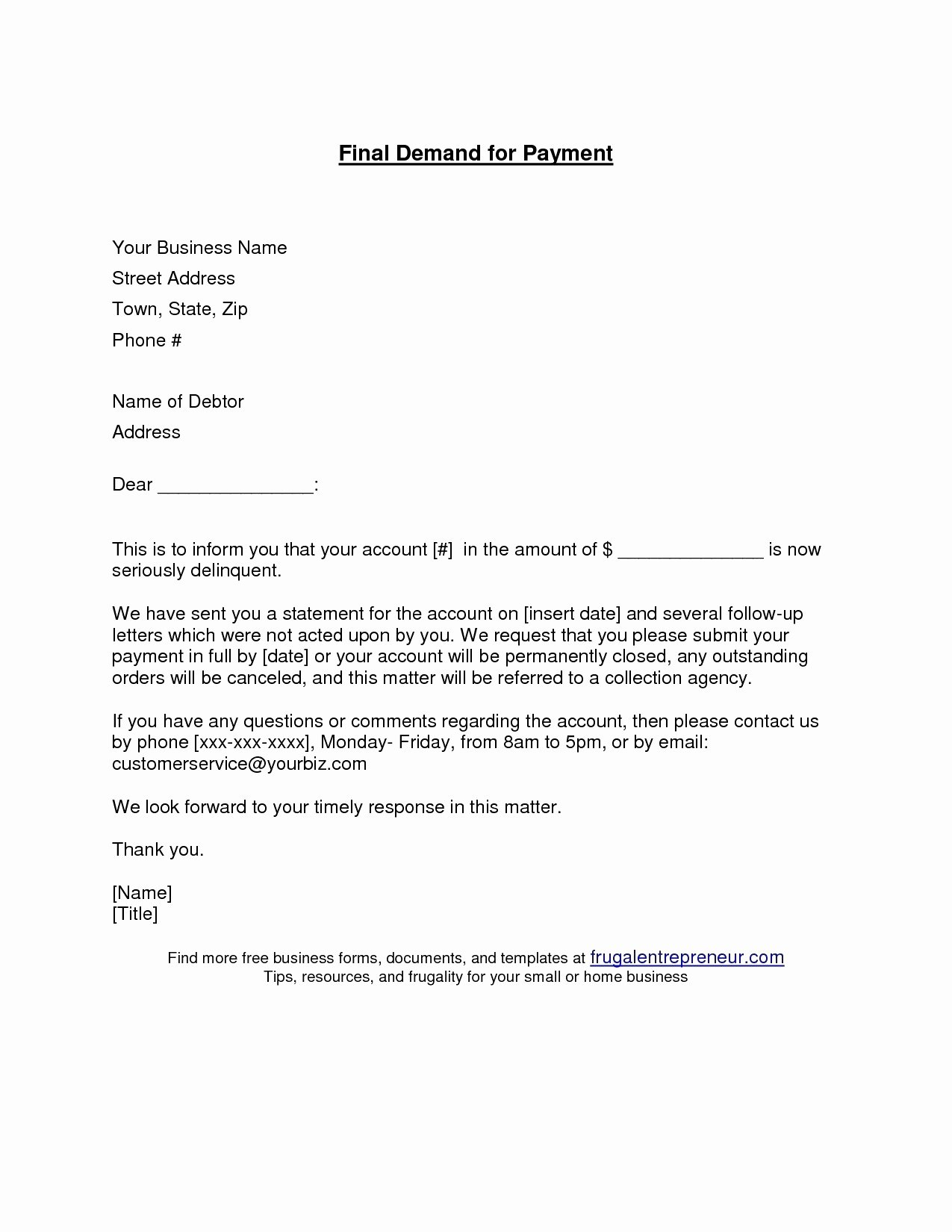 Final Demand for Payment Best Of Final Demand for Payment Letter Template Examples