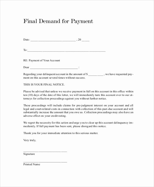 Final Demand for Payment Luxury Sample Final Notice Letter 9 Documents In Pdf Word