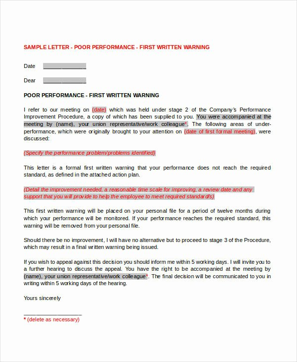 Final Written Warning Template Best Of First Warning Letter Templates 14 Free Word Pdf format