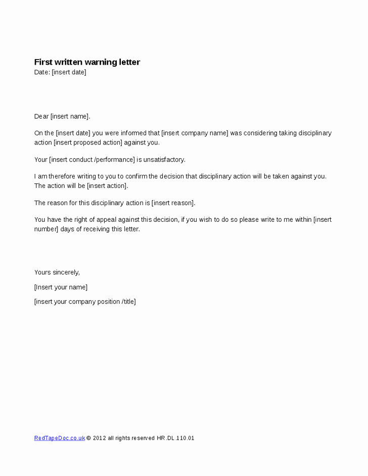 Final Written Warning Template Best Of Written Warning Template