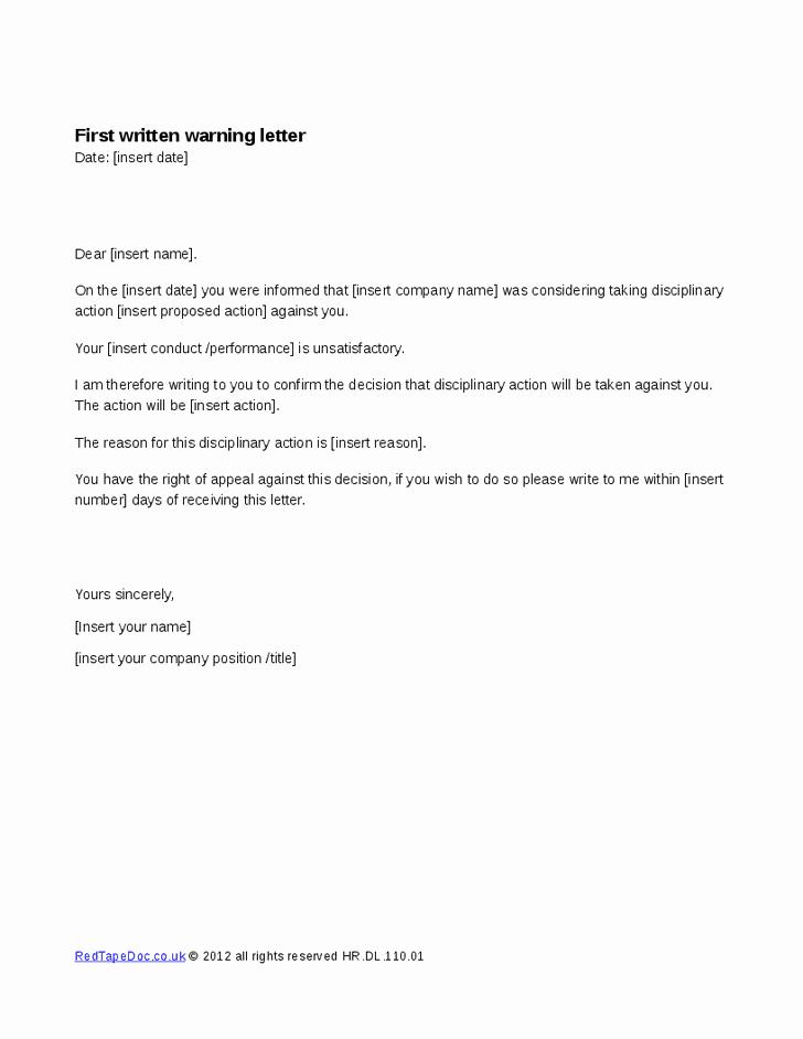 Final Written Warning Template Best Of Written Warning Template