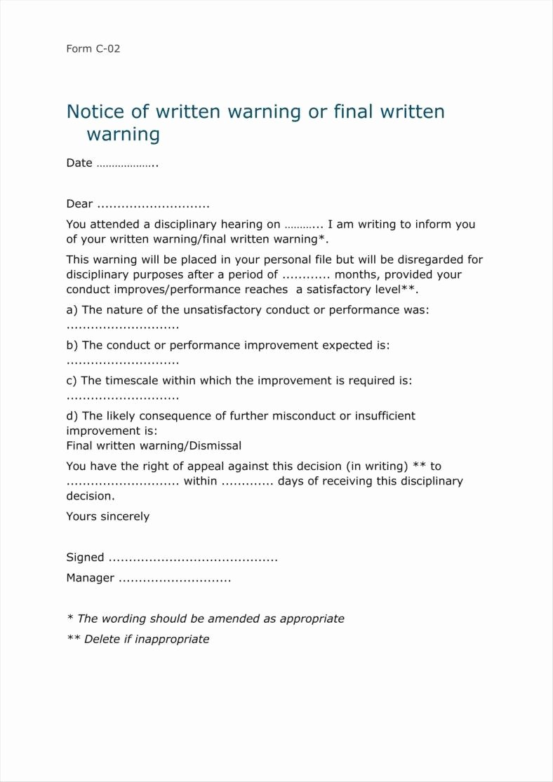 Final Written Warning Template Unique 8 Sample Final Warning Letters Free Samples Examples