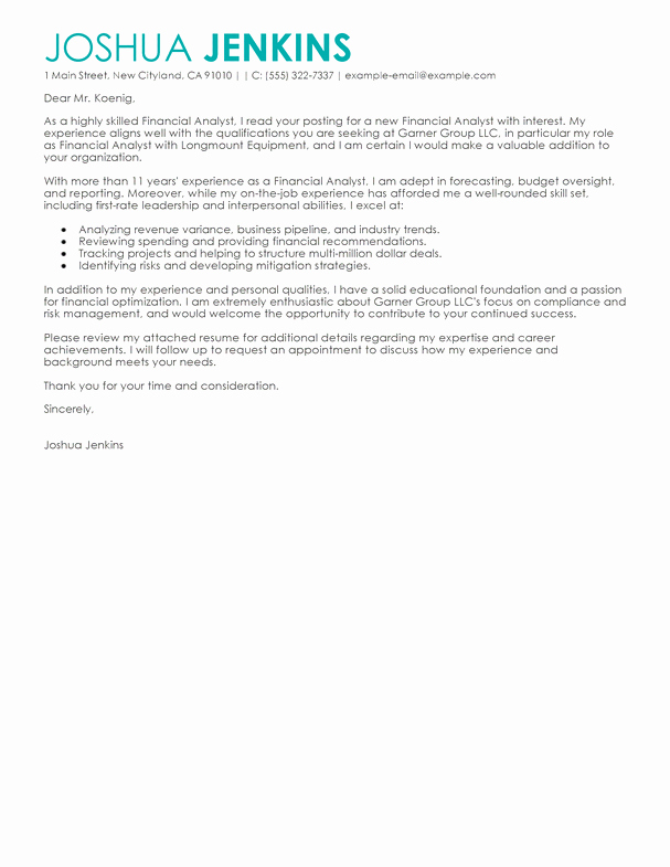 Finance Cover Letter Sample Awesome Best Business Cover Letter Examples Livecareer