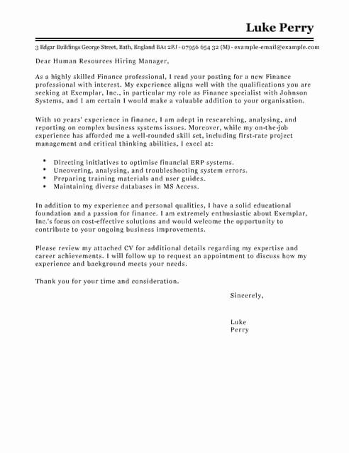 Finance Cover Letter Sample Best Of Accounting & Finance Cover Letter Templates