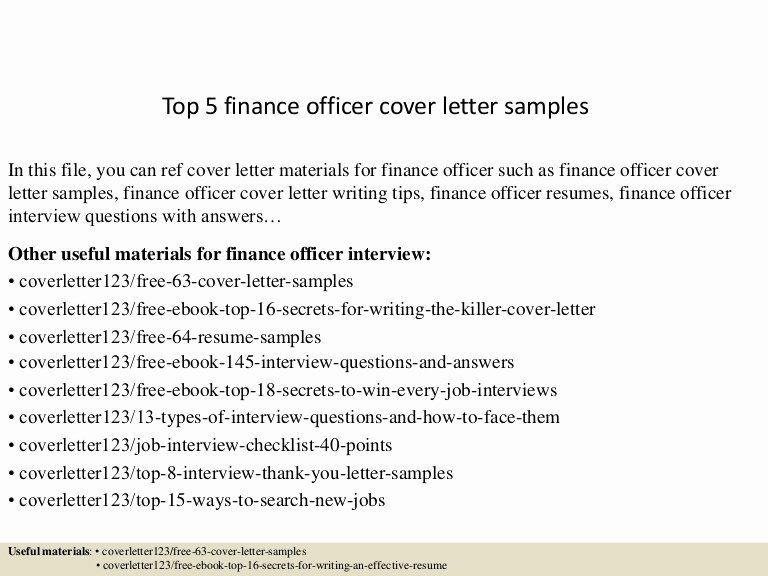 Finance Cover Letter Sample New top 5 Finance Officer Cover Letter Samples