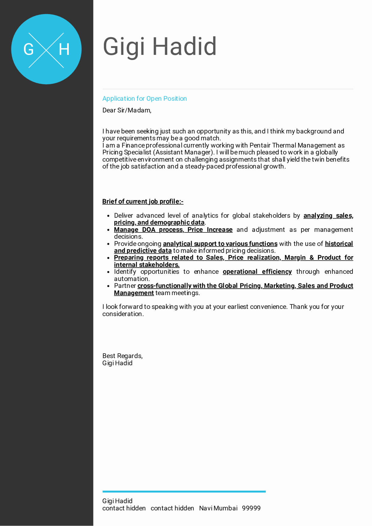 Finance Cover Letter Sample Unique Cover Letter Examples by Real People Honeywell Pricing