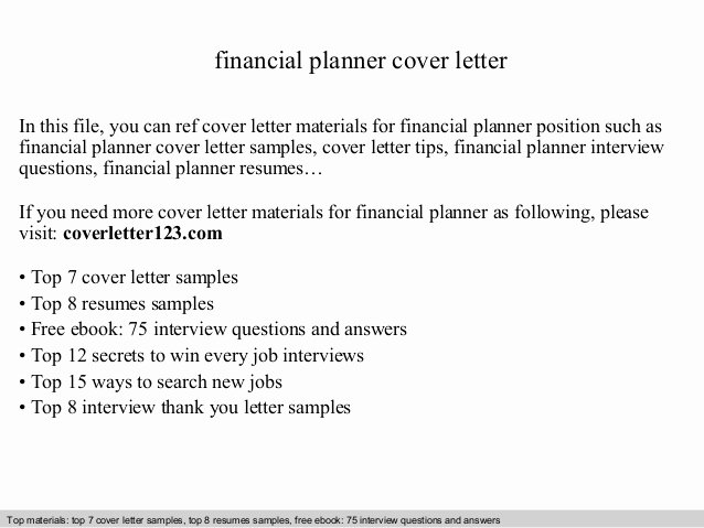 Finance Cover Letter Sample Unique Financial Planner Cover Letter